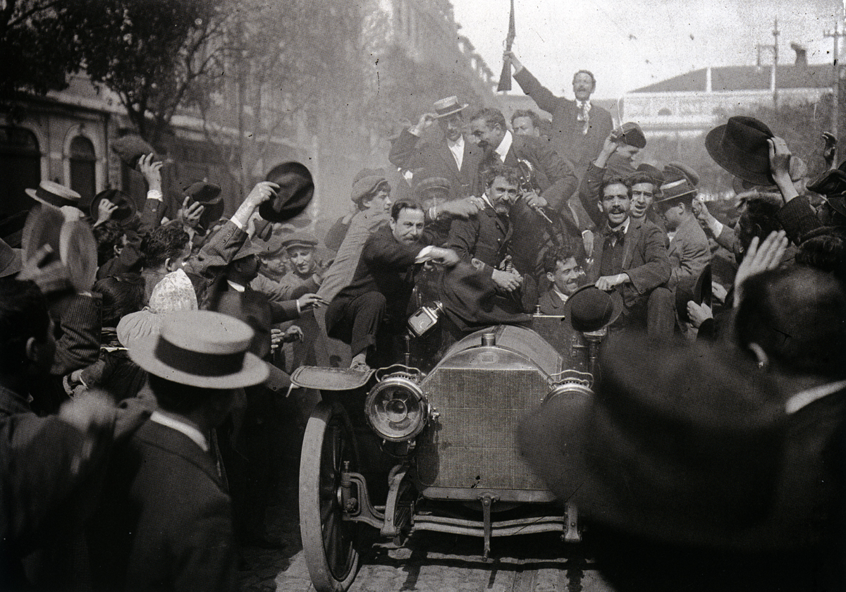 Rewolucjoniści z 5 października świętują zwycięstwo, Lizbona, 5 października 1910