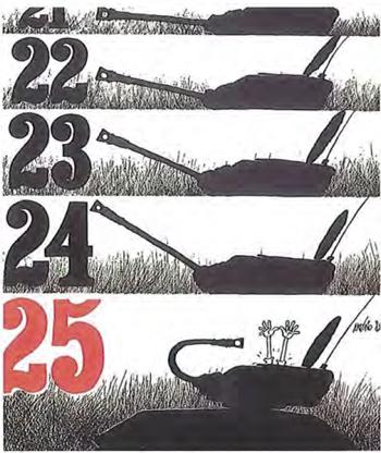 """Anónio, jeden z największych rysowników satyrycznych naszych czasów, jest autorem jednej z plansz, na granicy między cartoon a komiksem, która genialnie puentuje 25 Kwietnia i militarny początek leżący u jego początków, """"25 de Abril/25 Kwietnia, Suspensórios, Polemos, 1983"""